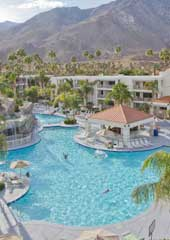Aerial view of the pool and resort | Palm Canyon Resort | Palm Springs, CA