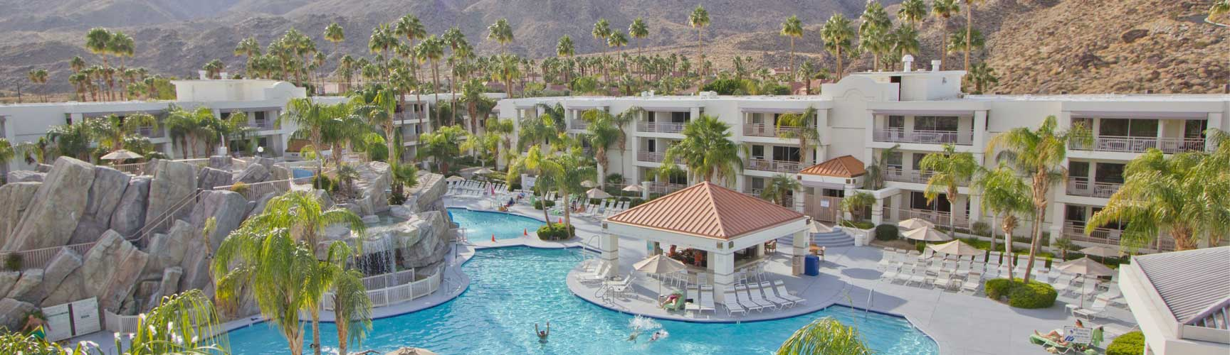 Aerial view of Palm Canyon Resort